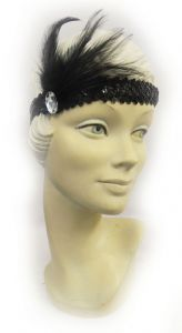 New Vintage Inspired 1920's Flapper Downton Gatsby Sequin Feather  Headband Headpiece